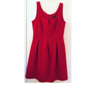 Red fit and flare knee length dress